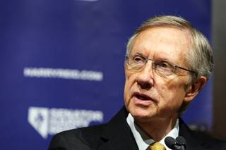 Senate Majority Leader Harry Reid responds to a question during a news conference at Vdara Wednesday, November 3, 2010.