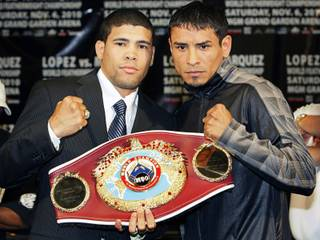 Juan Manuel Lopez (left) and Rafael Marquez pose during a press conference on November 4, 2010 at the MGM Grand Garden Arena.