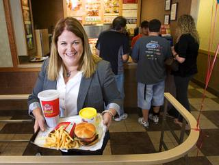 Wendy Thomas poses at the Wendy's restaurant at 3333 W. Tropicana Ave. Thursday, November 4, 2010. Thomas was promoting the new Dave's Hot 'N Juicy Cheeseburgers. Wendy is the daughter of Wendy's founder Dave Thomas.
