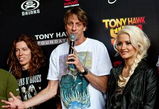 Tony Hawk's 2010 Stand Up for Skateparks at the Wynn on Nov. 6, 2010. Shaun White, Hawk and Holly Madison are pictured here.