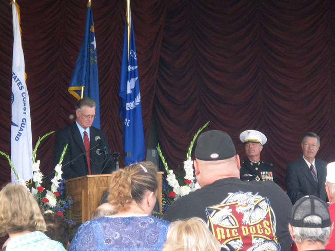 Henderson Mayor Andy Hafen speaks Saturday at the city's annual Veterans Day Ceremony.
