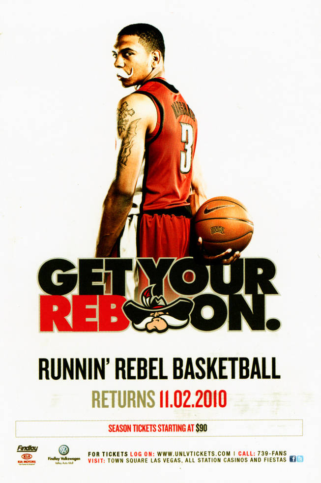 UNLV basketball ad featuring sophomore guard Anthony Marshall.