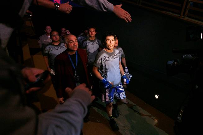Takeya Mizugaki enters the Pearl showroom for his bout against Urijah Faber at WEC 52 Thursday, November 11, 2010 at the Palms. Faber won by submission.