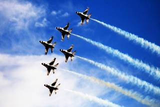 The U.S. Air Force Thunderbirds perform Saturday during the annual Aviation Nation air show at Nellis Air Force Base.