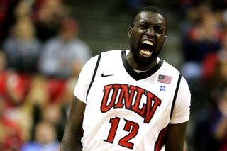 UNLV forward Brice Massamba celebrates a play during the first half of their game against Souteastern Louisiana Wednesday, November 17, 2010.