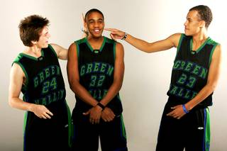 Green Valley basketball players Austin Tebbs, Keiannte' Wilkins and Earl Thompson.