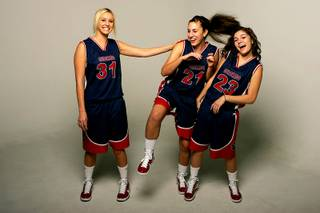 Coronado basketball players Amanda Decker, Nicole Ruffino and Sofie Cruz