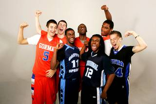 The Sun Seven basketball players Bishop Gorman's Rosco Allen, Shabazz Muhammad, Ben Carter and Ronnie Stanley, Canyon Spring's Michael Thompson, Centennial's Aaseem Dixon and Sierra Vista's Viko Noma'aea.
