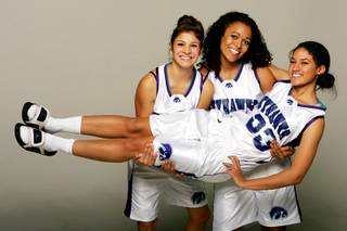 Silverado basketball players Brittany Loguidice, Jessica Meyers and Natalie Lainhart.