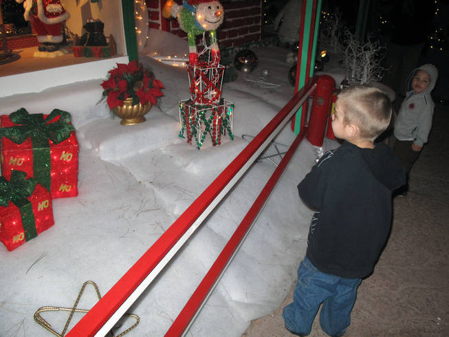 Antonio Espana, 3, and his brother Isaac, 2, admire the Christmas displays Saturday at the annual Magical Forest, an annual fundraiser for Opportunity Village.