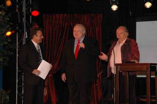 Tony Sacca, Louie Anderson and Robin Leach at Las Vegas Rocks Cafe on Nov. 27, 2010.