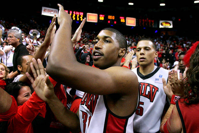 Justin Hawkins celebrates UNLV has 68-65 victory against Wisconsin in 2010 at the Thomas & Mack Center. Hawkins' steal on the final play of the game gave the Rebels the narrow victory.