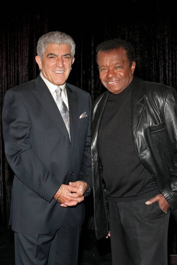 Frank Vincent and Little Anthony on the set of Resurrection: The Wrath of Seduction at Las Vegas Rocks Cafe on Nov. 23, 2010.