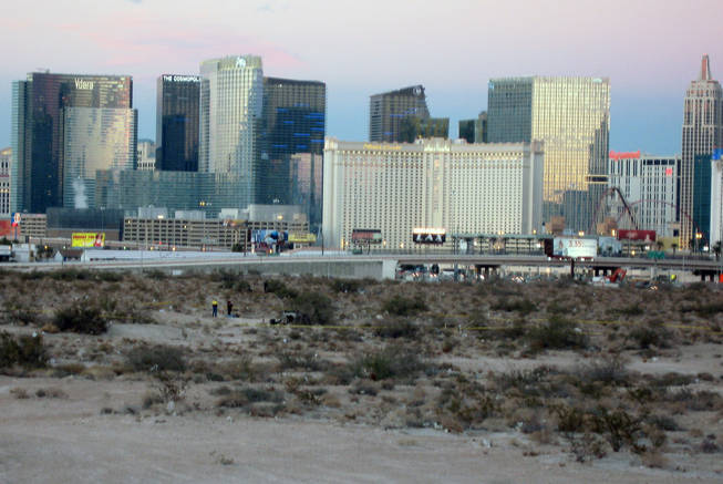 Metro Police investigate the death of a man found Saturday in a desert area near Russell Road and Polaris Avenue west of the Strip and Interstate 15.