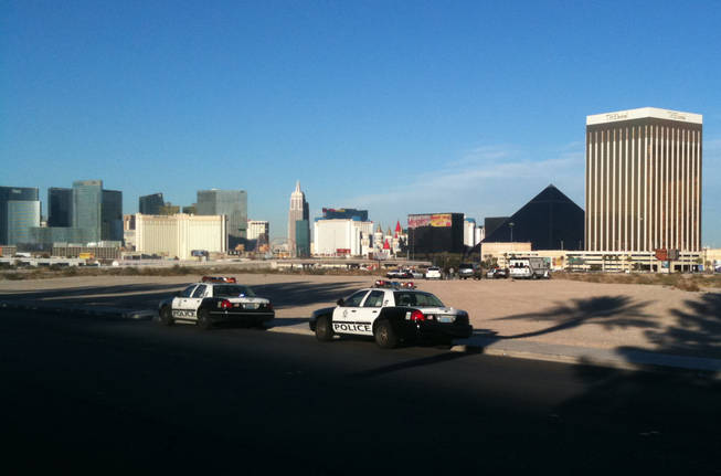 Metro Police investigate the death of a person found Saturday in a desert area near Russell Road and Polaris Avenue west of the Strip and Interstate 15.