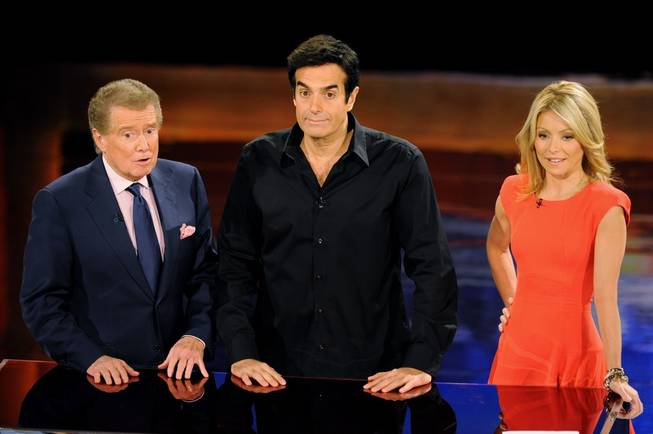 Regis Philbin, David Copperfield and Kelly Ripa record an episode of <em>Live! With Regis and Kelly</em> at Encore Theater in the Wynn on Nov. 28, 2010.