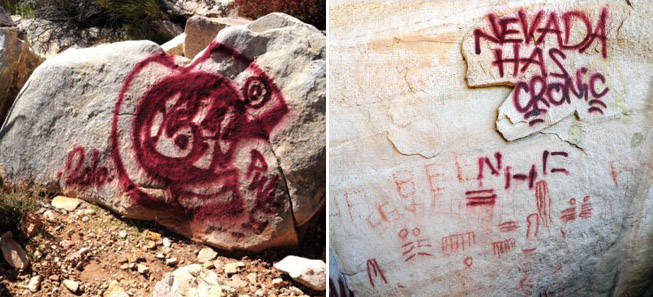 Damage is shown after vandals used spray paint on historic rock art panels at Red Rock Canyon.