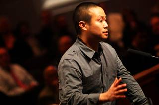 Zappos CEO Tony Hsieh speaks Wednesday, Dec. 1, 2010, at the Las Vegas City Council meeting, when it was officially announced the existing City Hall building would be used as the corporate headquarters for online retailer Zappos.com.