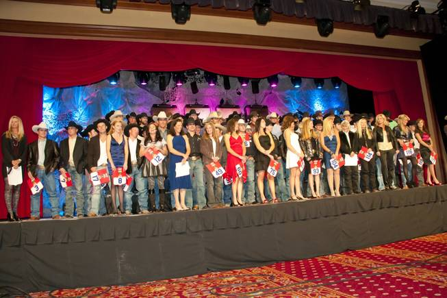 The 2010 Wrangler National Finals Rodeo contestants onstage during the NFR welcome reception at South Point on Tuesday, Nov. 30, 2010.