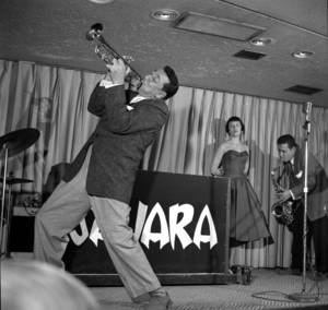 Louis Prima, wife Keely Smith and Sam Butera at the Sahara in Las Vegas on March 10, 1956.
