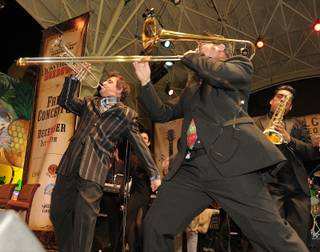 Louis Prima Jr. and his band at Fremont Street Experience on Dec. 7, 2010.