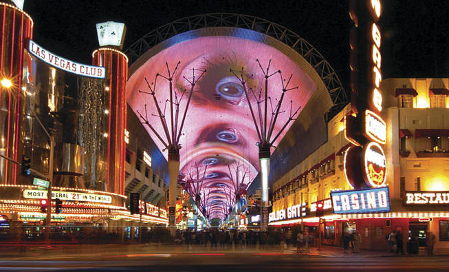 The 1,500-foot-long canopy over downtown's Fremont Street Experience is shown in downtown Las Vegas in this file photo.
