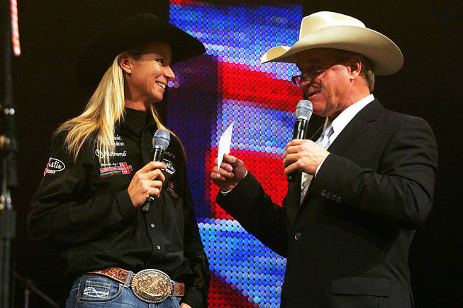 World champion barrel racer Sherry Cervi is introduced during the NFR World Champion Awards Show at The Mirage on Saturday, Dec. 11, 2010.
