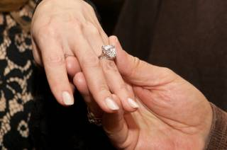 Andrea Hissom's engagement ring from Steve Wynn at the premiere of Sinatra: Dance With Me at Encore Theater in the Wynn on Dec. 11, 2010.