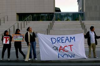 Supporters of the DREAM Act held a rally at the Lloyd George Federal Building in Downtown Las Vegas on December 14 in an effort to gain Sen. John Ensign's support.