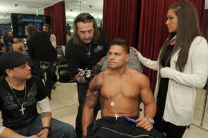 DJ Skribble, Mario Barth, Ronnie Ortiz-Magro and Sammi Giancola at King Ink in The Mirage.