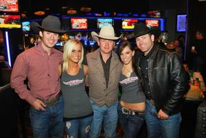 Luke Snyder, Trina Naughton, Chris Shivers, Jena Carpin and Brendon Clark at PBR Rock Bar & Grill at Planet Hollywood's Miracle Mile Shops on Dec. 14, 2010.