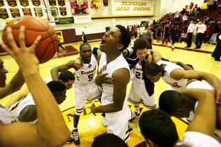 Curtis Stewart of Eldorado celebrates their 64-58 win against Las Vegas Thursday at Eldorado High School in Las Vegas.