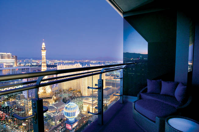 The view from a terrace in one of the Cosmopolitan of Las Vegas' rooms.