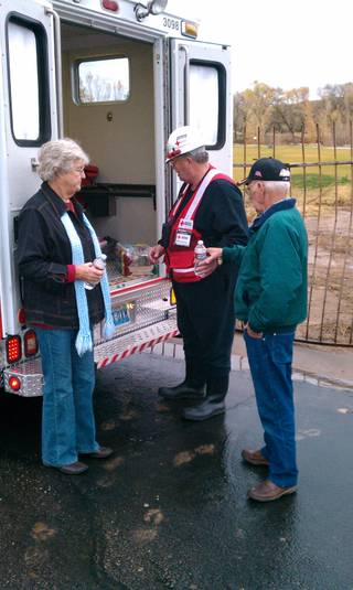 Red Cross volunteers visited the Beaver Dam area, which is near the Nevada-Utah border, and handed out snacks and hot chocolate to county workers on Wednesday, Dec. 22, 2010. Rain has hammered Clark County prompting flooding throughout the valley, including in Mesquite. Beaver Dam Wash crested at 14.7 feet at 9 a.m. Tuesday.