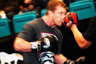 Gray Maynard works out during UFC 125 open workouts Thursday, December 30, 2010, at the MGM Grand Garden Arena.