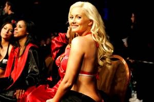 Holly Madison serves as honorary ring girl for the first round of the Clay Guida-Takamori Gomi fight at UFC 125 on Saturday, Jan. 1, 2011, at the MGM Grand Garden Arena.
