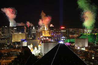 Fireworks explode over the Las Vegas Strip just after midnight Jan. 1, 2011. This photo was taken from Mix atop The Hotel at Mandalay Bay.