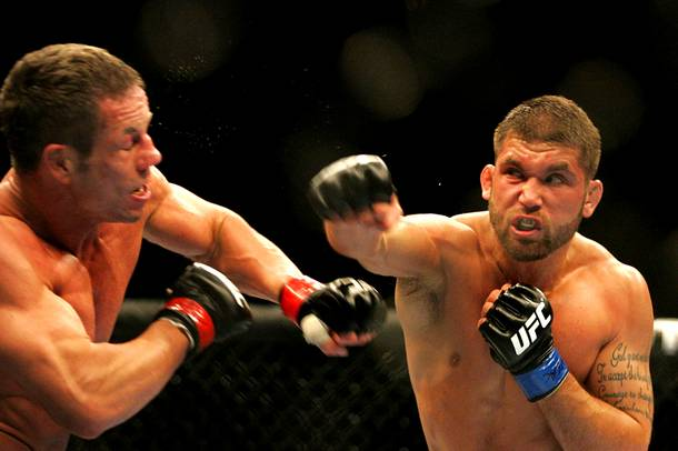 Jeremy Stephens connects on Marcus Davis during their middleweight bout during UFC 125 on Saturday, Jan. 1, 2011, at the MGM Grand Garden Arena.