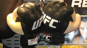 These oversize, padded UFC gloves go for $25 a pair and are said to be quite popular holiday gift items. For the violent niece or nephew on your holiday shopping list, I guess.
