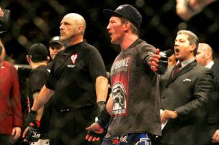 Gray Maynard reacts to the announcement of a draw against Frankie Edgar in their lightweight title fight during UFC 125 Saturday, January 1, 2011 at the MGM Grand Garden Arena.