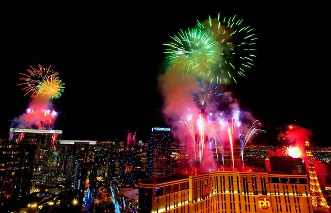 Fireworks and New Year's Eve on The Strip on Dec. 31, 2010.