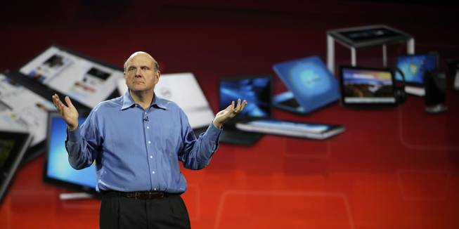 Microsoft Chief Executive Officer Steve Ballmer gives his keynote speech Wednesday at the Consumer Electronics Show.