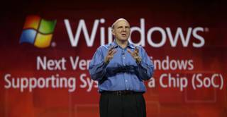 Microsoft CEO Steve Ballmer discusses System on a Chip while giving his keynote speech Wednesday at the Consumer Electronics Show.
