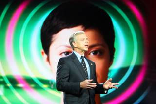Lowell McAdam, president and Chief Operating Officer of Verizon, speaks during the keynote address Thursday during CES.