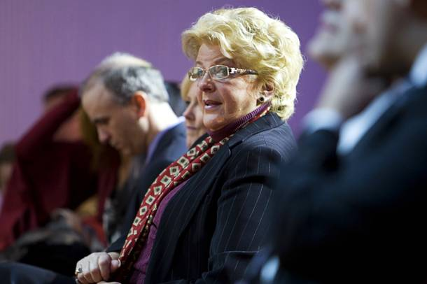 Carolyn Goodman, wife of Las Vegas Mayor Oscar Goodman, waits for her husband to deliver the annual State of the City address at the Cleveland Clinic Lou Ruvo Center for Brain Health in downtown Las Vegas on Tuesday, Jan. 11, 2011.