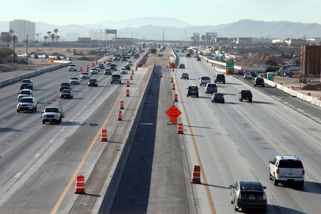 Traffic on Interstate 15 near the Las Vegas Beltway is seen Thursday from the new Sunset Road bridge while work continues on the Interstate 15 South Design-Build Project.
