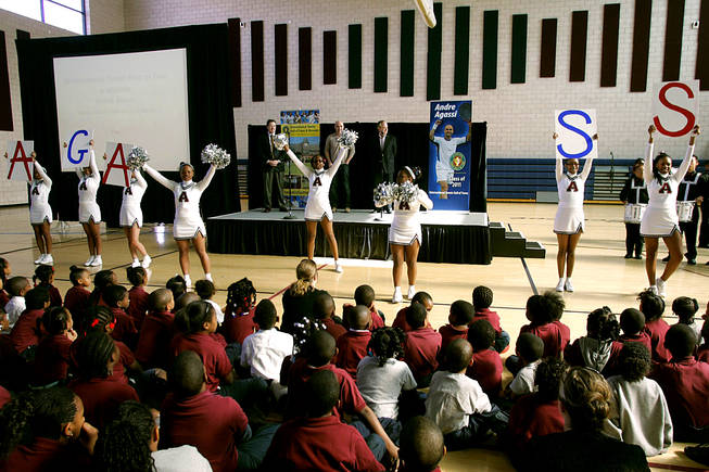 Cheerleaders perform during an announcement of Andre Agassi's induction into the International Tennis Hall of Fame Thursday, January 20, 2011 at the Andre Agassi College Preparatory Academy. Agassi will be officially inducted July 9th.