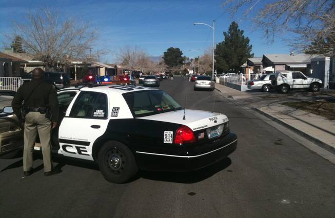 Metro Police investigate a shooting Thursday on Slayton Drive near Alta Drive.
