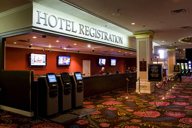 New signage is shown over the hotel lobby at the Primm Valley Hotel & Casino in Primm on Thursday, Jan. 20, 2011.