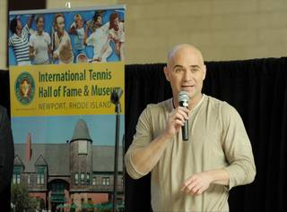 Andre Agassi attends a press conference, announcing his induction into the International Tennis Hall of Fame and Museum, at the Andre Agassi College Preparatory Academy on Jan. 20, 2011.